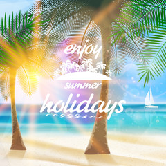 Summer typography holidays template.