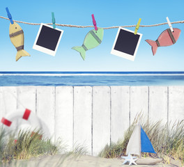 Blank Images and Objects Hanging by the Beach