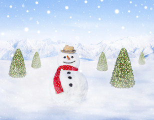Smiling Snowman and Christmas Trees Outdoors Snowing