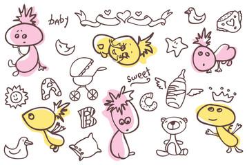 Babies and toys doodle illustrartion