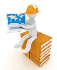 3d man in hard hat sitting on books and working at his laptop