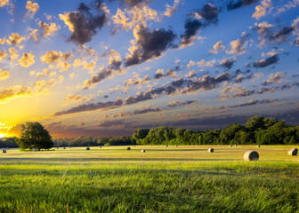 Fotobehang Texas Hay Bales at Sunrise
