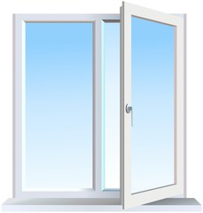 Half opened modern window with blue background