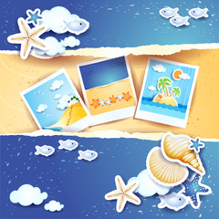 Holidays background with paper elements and photos