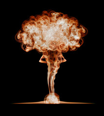 Nuclear explosion, isolated on black background