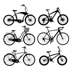 Silhouettes of bikes