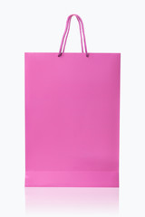 Pink shopping bag, isolated with clipping path on white backgrou