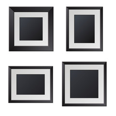 Realistic Black Picture Frames with Blank Center. Vector