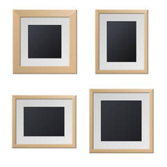 Realistic Wood Picture Frames with Blank Center. Vector