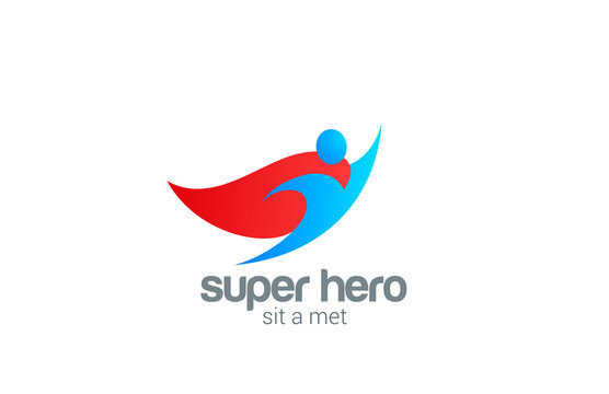 Super Hero abstract Flying Character vector logo design