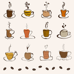 set of 12 decorative coffee cups
