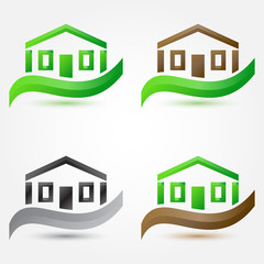 Vector simple house (buildings) icons - abstract real estate sym