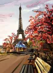 Wall Mural - Street in paris. Eiffel tower - illustration