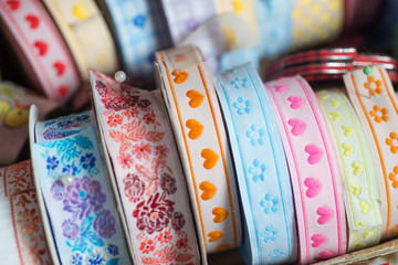 Colorful fabric ribbon tapes