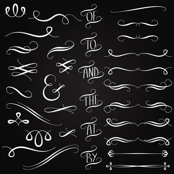 Vector Collection of Chalkboard Style Words, Decoration, Ornamen