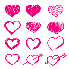 pink vector hearts set icons