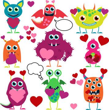 Vector Set of Cute Love Monsters