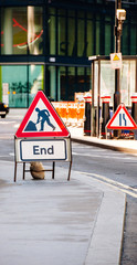 Road End sign as seen on the street conceptual image