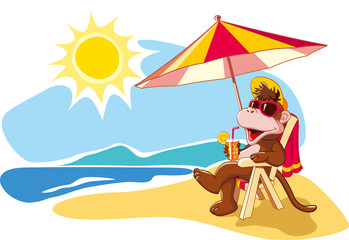 Summer vacation by the sea, cartoon illustration