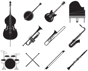 Jazz music instruments set