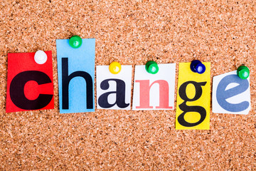 The word CHANGE on a bulletin board