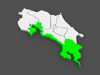 Map of Puntarenas. Costa Rica.