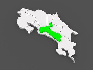 Map of San Jose. Costa Rica.
