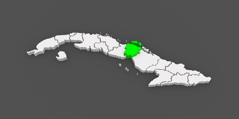 Map of Ciego de Avila. Cuba.