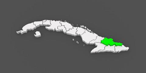 Map of Holguin. Cuba.