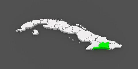 Map of Santiago de Cuba. Cuba.