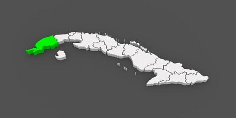 Map of Pinar del Rio. Cuba.