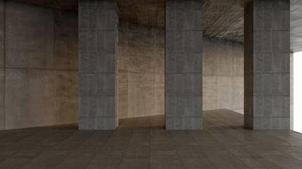 dark blank interior scene concrete wall