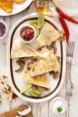 Quesadilla with mushrooms. Vegetarian dish