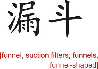Chinese Sign for funnel, suction filters, funnels,funnel-shaped