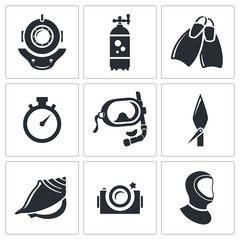 Diving icons set