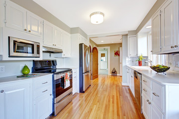 Bright kitchen room in whtie color