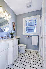 Bright bathroom interior in light blue color