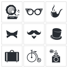 Vintage Hipster Icons icons set