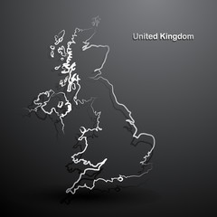 United Kingdom map hand drawn background vector,illustration