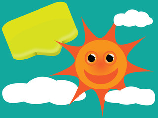 Cute sun with icon and clouds