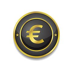 Euro Currency Sign Circular Vector Golden Black Web Icon Button