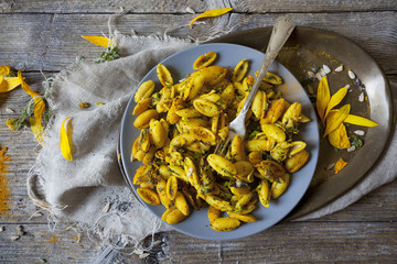 summer flowers pasta with seeds and petals flowers and spices