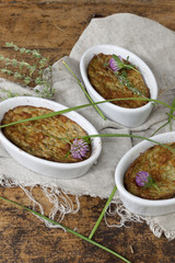 vegetables souffle oven baked with rustic background