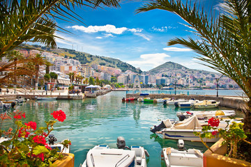 Saranda city port  at ionian sea. Albania.