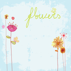 greeting card with retro flowers