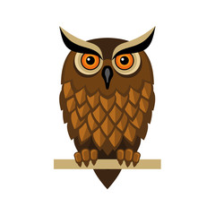 Owl Isolated on White. Vector