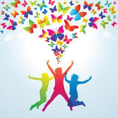 Enjoy summer time!  Young girls and butterflies.