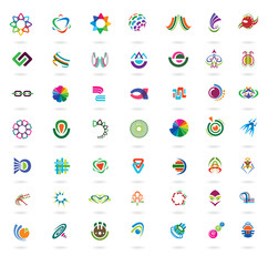 Set of abstract colorful design elements and icons.
