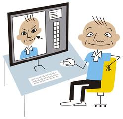 画像編集ソフトで顔を修正する男性