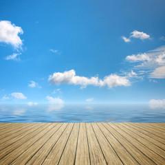 Wall Mural - wooden jetty blue sky